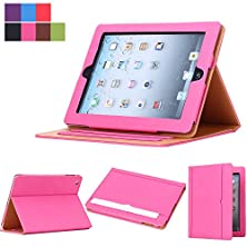 buy I4Ucase Tm Ipad Air / Air 2 Soft Leather Wallet Stand Dual Layer Smart Feature Case (Built-In Magnet For Sleep / Wake Feature) For Apple Ipad Air / Air 2 Tablet (Hot Pink)