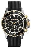 Michael Kors MK8366 Men's Everest Sports Gold Tone Bezel Black Dial Black Rubber Strap Chronograph Watch