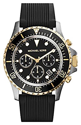 cb2f7682dc186b Michael Kors Everest Chronograph Black Dial Black Silicone Mens Watch MK8366