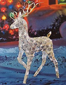 """48"""" Gold and Silver Buck Reindeer Lighted LED Christmas Yard Art Decoration"""