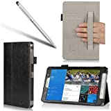 i-BLASON Samsung Galaxy Tab Pro 8.4 Case - Leather Book (Elastic Hand Strap, Multi-Angle, Card Holder) for SM-T320/325 With Bonus Stylus 3 Year Warranty (Black)