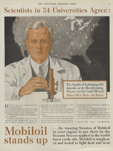 1931 Ad Vacuum Oil Co Mobiloil Motor Oil Scientists Chemists Microscope Ar - Original Print Advertising