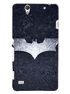 Blue Throat Bat Man Logo In Grey Printed Designer Back Cover For Sony Xperia C4