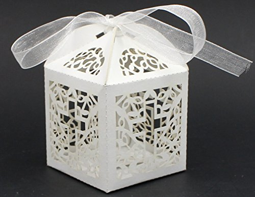 Saitec ® New 50ps white Laser Cut Wedding favor box in Pearl color cross candy box wedding party show gifts paper box (with ribbon) lace butterfly flowers laser cut white bow wedding invitations printing blank elegant invitation card kit casamento convite
