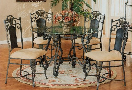 Cheap 5pc Antique Brass Metal Dining Table w/Glass Top & Chairs Set (VF_dinset-120021-120022)
