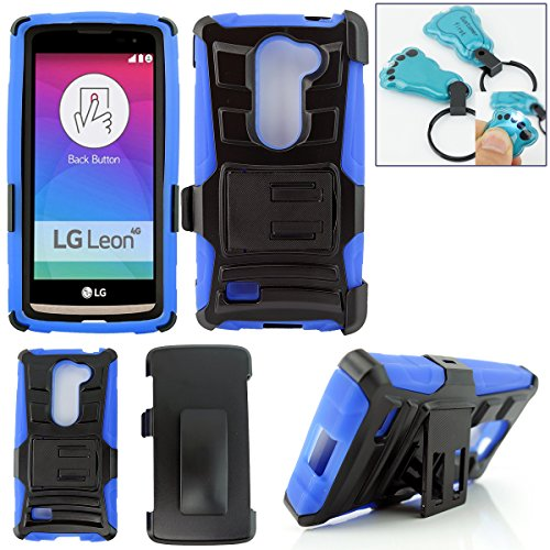 Lg Volt 2 Case, Lg Magna Case, Customerfirst Lg Volt 2 / Lg Ls751 Rugged Series - Heavy Duty Dual Layer Holster Case Kick Stand with Locking Belt Swivel Clip - Includes Key Chain (H Stand Blue)