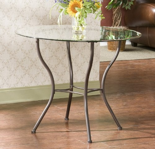 Cheap Round Dining Table with Tempered Glass Top Antique Bronze Metal Base (AZ00-46208×21072)