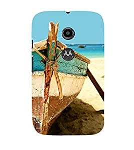 Omnam Boat Parked Near Beach Close Up Printed Designer Back Cover Case For Moto E2