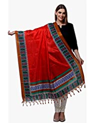 Riti Riwaz Red & Brown Printed Art Silk Dupatta BG147