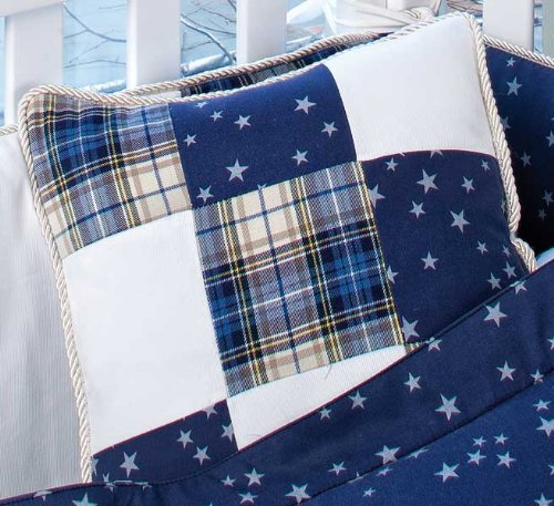 Navy And White Crib Bedding 8152 front