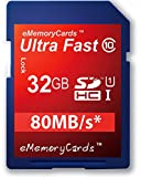 EMemoryCards 32GB/32GIG Class 10 SD Ultra Fast 80MB/s SD SDHC Memory Card for Olympus Tough TG-320 Camera