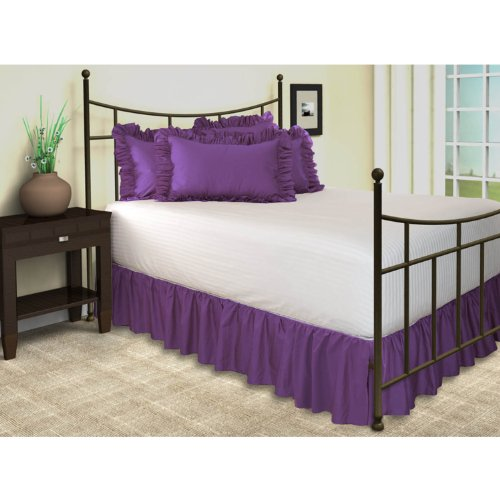 "Poly Cotton Ruffled Bed Skirt With Split Corners, Queen, 18"" Drop, Grape"