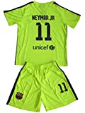 2014/2015 BARCELONA LIME GREEN NEYMAR JR #11 KIDS SOCCER JERSEY & SHORT