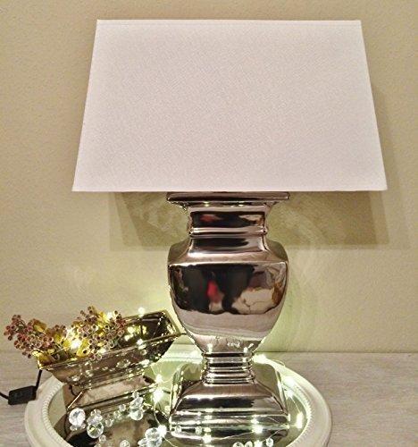 43-cm-SILVER-LADY-Tischlampe-WEI-Silber-Shabby-Chic-Tischleuchte-Keramiklampe-8738S-31