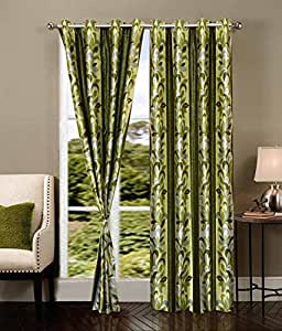 Buy Curtain Set Of 2 Piece Printed Eyelet Polyester Living Room Window Curtain Size Width X