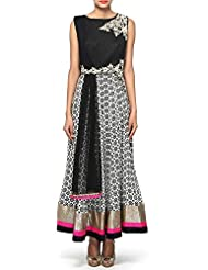 White And Black Anarkali Suit Adorn In Zari And Mirror Embroidery Only On Kalki