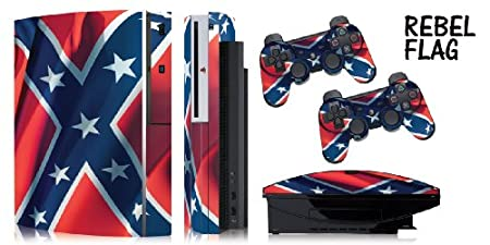 Protective skins for FAT Playstation 3 System Console, PS3 Controller skin included - REBEL