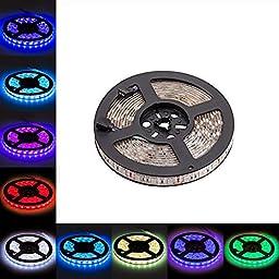 LED Light Strip, LTROP 16.4ft 5m Waterproof 300 LED Lights Strip, Flexible Color Changing RGB SMD 5050 Bar Lighting ( No Remote Controller or Other Kit Included)