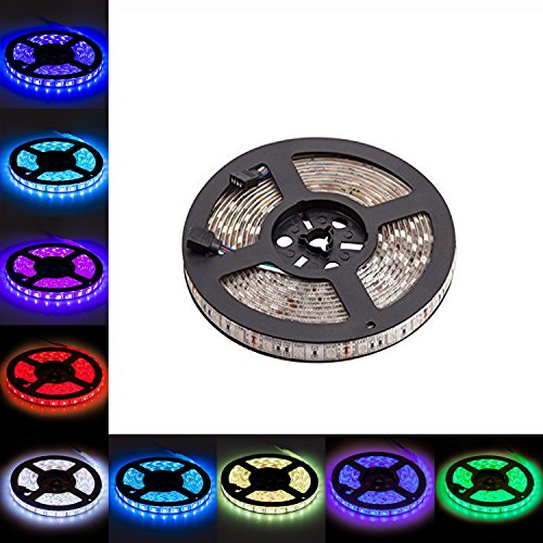 LED Light Strip, LTROP 16.4ft 5m Waterproof 300 LED Lights Strip, Flexible Color Changing RGB SMD 5050 Bar Lighting ( No Remote Controller or Other Kit Included) (Radiation Strip compare prices)
