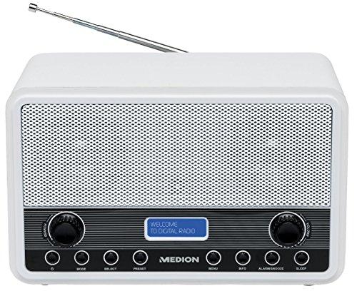 MEDION LIFE E66312 (MD 84950) DAB+ Radio (20 Senderspeicher, 2 x 2 Watt, 3,5 mm Kopfhöreranschluss, Netzadapteranschluss) schwarz/weiß
