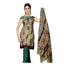 Muac New Coffee & Green Pure JodhPuri Printed Cotton Semi Stitched Suit ( Dress ) + Navratri Gift