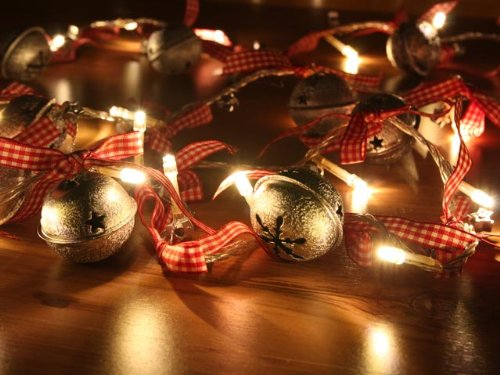 Battery Operated Warm White Led String Lights With Round Bell, Christmas Lights, Party Lights (Free Shipping)
