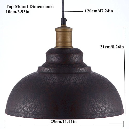 """BAYCHEER HL371892 Industrial Retro style Iron 11.8""""Wide Antique Rust Loft Metal Fixture Pendant Lights Lamps with 1 Light, Brown 3"""