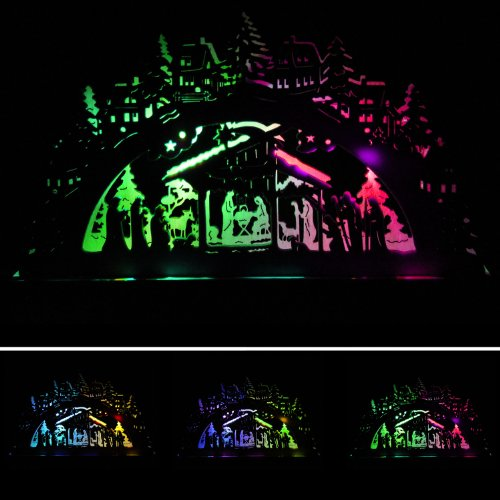 Pre-Lit Wooden Nativity Silhouette Table / Window Christmas Decoration Illuminated with 2 Colour Changing LED Lights - Size 23cm