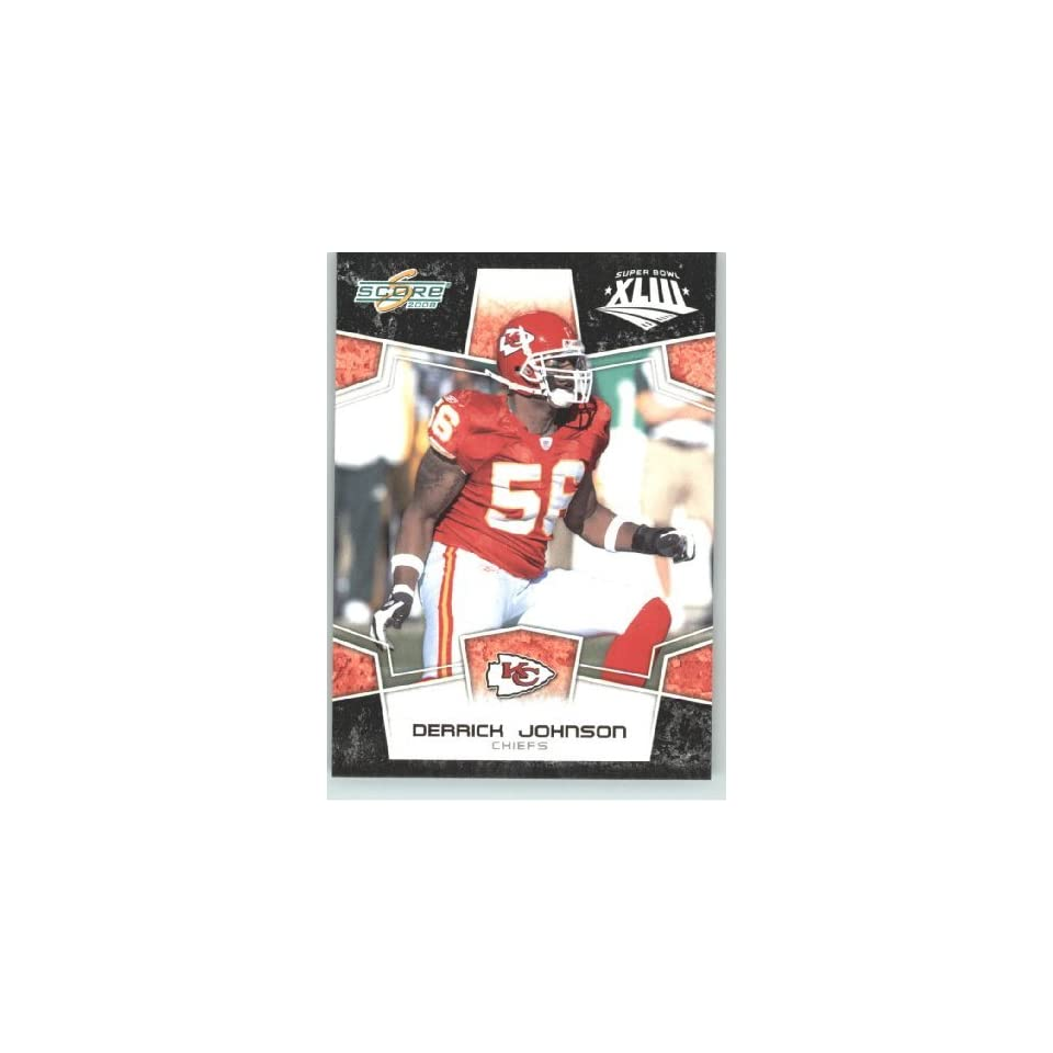 2008 Donruss / Score Limited Edition Super Bowl XLIII Black Border # 158 Derrick Johnson   Kansas City Chiefs   NFL Trading Card in a Prorective Screw Down Display Case