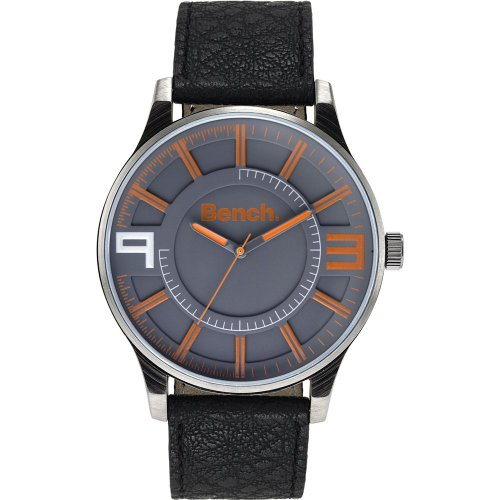 Bench Men's Quartz Strap Watch with Grey Dial Analogue Display and Black Plastic or Pu Band Bc0401orbk