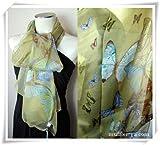 半額蝶々柄100シルクロングスカーフ