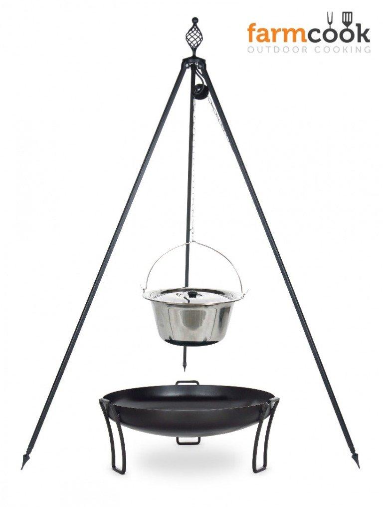 Dreibein Grill OSKAR Höhe 210cm + Topf 8 Liter aus Edelstahl + Feuershale Pan39 online bestellen