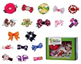 ✬  Bundle Monster 18pc Girl Baby Toddler Ribbon Bows Flowers Mixed Design Hair Clip and Barrettes