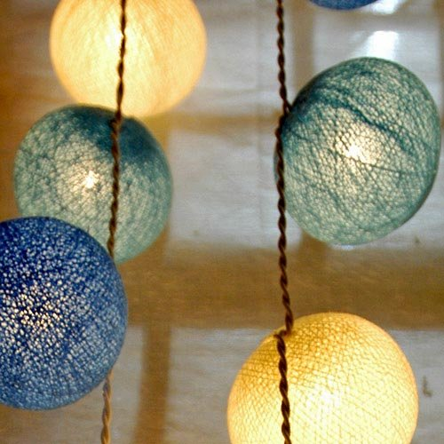 Cotton Ball String Light Set (White,Blue&Drak Blue Color) with White Cord for Birthday Party Decorating, Garden Party Decorations or Wedding Lights Product of Thailand