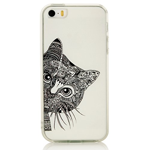 YCMCOVER iPhone SE 5 5S Case Heavy Duty Back cover with TPU Silicon Soft Bumper Black Cat