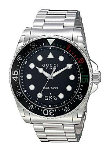 Gucci-Diver-Reloj de pulsera analógico automático para hombre acero inoxidable ya136208