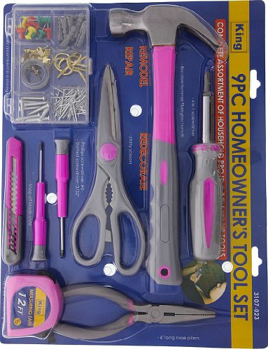 Do It Yourself Tool Kit 9 Piece (Pink) - 3107-0