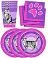 Kitty Cat Pink Kitten Birthday Party Supplies Set Plates Napkins Cups Tableware Kit for 16
