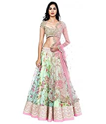 Z Fashion Fogg Printed Off-White Color Semi-Stitched Gorgette & Net Lehenga with Pink Net Dupatta & Gold Blouse Piece