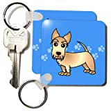 Cute Wheaten Scottie – Cartoon Dog – Blue with Pawprints – Set Of 2 Key Chains