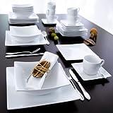 """Tafel-Service """"Modern"""" 6 Suppenteller + 6 Speiseteller quadratisch weiß"""