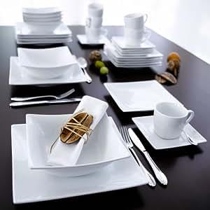 service de table modern 6 assiettes soupe 6 assiettes plates carr es blanc. Black Bedroom Furniture Sets. Home Design Ideas