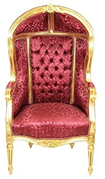 Casa Padrino Baroque Children throne Bordeaux Pattern / Gold - Ballon armchair baroque furniture