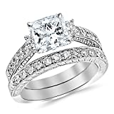 2.52 Carat t.w. GIA Certified Princess Three Stone Vintage With Milgrain & Filigree Bridal Set with Wedding Band & Diamond Engagement Ring H/SI2