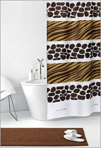 savana rideau de douche blanc motif z br africain marron jaune motif girafe textile 180 cm. Black Bedroom Furniture Sets. Home Design Ideas