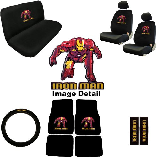 15pc Iron Man Marvel Comics Superhero Low Back Seat Covers with Head Rest Covers, Bench Cover and Steering Wheel Cover with Shoulder Pads and Floor Mats Licensed and Rare Product