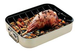 Premier Housewares Plat à rôtir rectangulaire Panier et poignées en inox Émail Crème 42 x 32 x 8 cm