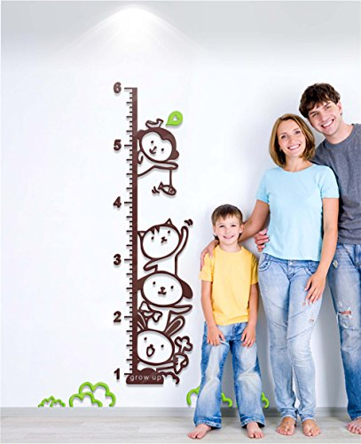 DecorSmart Plastic Growth Chart Ruler Wall Stickers, Large Plastic Ruler Animal companion to Measure Children Growing 5007 (CoffeeAqua) (Large Ruler Growth Chart compare prices)