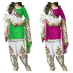Sky Global Women's Printed Unstitched Regular Wear Salwar Suit Dress Material (Combo pack of 2)(SKY_521_Pink)(SKY_522_Yellow)