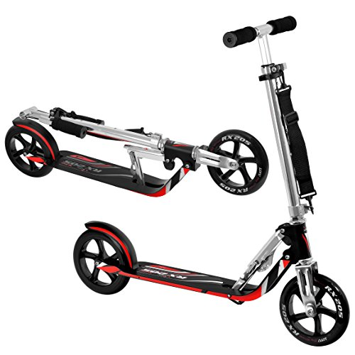 Vokul® VK-205 Portable Folding Adult Matte Black Bull Wheel Kick Scooter